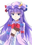 1girl :< >:( bangs blue_bow blue_eyes blue_ribbon blunt_bangs book bow bowtie commentary_request crescent crescent_hair_ornament dress e.o. eyebrows_visible_through_hair frilled_sleeves frills hair_bow hair_ornament hat hat_ribbon highres holding holding_book long_hair long_sleeves looking_at_viewer mob_cap patchouli_knowledge purple_dress purple_hair purple_headwear red_bow red_neckwear red_ribbon ribbon sidelocks simple_background solo touhou tsurime upper_body very_long_hair white_background wide_sleeves