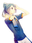 1boy aqua_hair arm_up blue_shirt brown_eyes crest hand_in_hair hand_on_own_head hand_on_own_neck highres inazuma_eleven inazuma_eleven_(series) kazemaru_ichirouta long_hair looking_to_the_side ponytail sayori_(artist) short_sleeves shorts simple_background solo sweatdrop t-shirt towel towel_around_neck