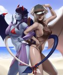 2girls ass-to-ass backlighting bare_shoulders beach bikini black_sclera blue_skin breasts cleavage commentary commission day demon_(monster_girl_encyclopedia) demon_girl demon_horns demon_tail demon_wings detached_sleeves english_commentary glasses hair_over_one_eye hat heart_tail_duo highres hime_cut horns jiffic large_breasts lilim_(monster_girl_encyclopedia) lips locked_arms long_hair monster_girl_encyclopedia multiple_girls ocean ojou-sama_pose original parted_lips peaked_cap platinum_blonde_hair pointy_ears purple_hair red_bikini red_eyes red_ribbon ribbon rimless_eyewear sarong shiny shiny_skin swimsuit tail tail_ribbon toned victoria_(lilim) wings