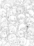 6+boys 6+girls anger_vein artoria_pendragon_(all) assassin_(fate/zero) berserker_(fate/zero) carnival_phantasm caster_(fate/zero) cheek_pull chibi command_spell dancing drawr emiya_kiritsugu emiya_shirou everyone fate/zero fate_(series) gilgamesh grail-kun greyscale hisau_maiya illyasviel_von_einzbern irisviel_von_einzbern kayneth_archibald_el-melloi kotomine_kirei lancer_(fate/zero) matou_kariya matou_sakura monochrome multiple_boys multiple_girls parody rider_(fate/zero) roe_(d-c_-b) saber sola-ui_nuada-re_sophia-ri toosaka_aoi toosaka_rin toosaka_tokiomi uryuu_ryuunosuke waver_velvet