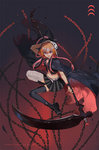 1girl bandages belt black_cloak black_footwear black_legwear black_skirt boots braid broken broken_chain chain character_name cloak commentary cropped_jacket floating full_body gradient gradient_background hagino_(axgh) hair_extensions heart holding holding_scythe hood hooded_cloak idolmaster idolmaster_cinderella_girls long_hair mismatched_legwear multicolored_hair navel ninomiya_asuka orange_hair pink_hair plaid plaid_skirt platform_boots pleated_skirt purple_eyes scythe shinigami sidelocks skirt thighhighs twin_braids twitter_username white_belt wrist_garter