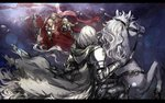 5boys 6+girls armor bertrand_(pixiv_fantasia_last_saga) blonde_hair bunny cape commentary_request crowd elf erika_lacy eye_contact flag gauntlets grey_cape grey_knight_julia highres horse horseback_riding laurel_knight_sylvester looking_at_another marigold_(pixiv_fantasia_last_saga) multiple_boys multiple_girls pixiv_fantasia pixiv_fantasia_last_saga pointy_ears polearm ponytail red_cape reins riding ryuuzaki_ichi standing weapon white_hair