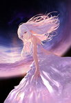 1girl bangs closed_mouth commentary dress dutch_angle eyebrows_visible_through_hair floating_hair from_below hair_between_eyes highres jname long_hair looking_at_viewer looking_down night night_sky original purple_eyes sky solo star_(sky) starry_sky white_dress