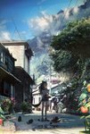 1girl absurdres animal animal_ears basket blue_sky building cat_ears cat_tail cloud commentary_request eating flower food fruit hair_ornament hairclip hat highres hose houses kukka looking_at_viewer mountain original outdoors plant power_lines road sandals scenery short_shorts short_sleeves shorts sky street tail tank_top telephone_pole translation_request undershirt white_tank_top