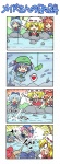 4koma 5girls :d =_= >:) >_< beamed_semiquavers chibi cirno closed_eyes colonel_aki comic cucumber fishing fishing_rod flandre_scarlet heart ibuki_suika kawashiro_nitori multiple_girls musical_note open_mouth saigyouji_yuyuko silent_comic smile speech_bubble spoken_heart sweatdrop tears touhou translated wavy_mouth xd