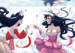 2girls ahri animal_ears bare_shoulders black_hair breasts bubble cleavage detached_sleeves dress dual_persona facial_mark fox_ears fox_girl fox_tail highres japanese_clothes kimono korean_clothes large_breasts league_of_legends long_hair low_neckline multiple_girls ribbon short_kimono smile submerged tail underwater water whisker_markings whitehee93 yellow_eyes