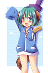 1girl :d alternate_costume animal_ears bad_id bad_pixiv_id collarbone cosplay dog_ears dog_tail gag_manga_biyori green_eyes green_hair hat jacket kasodani_kyouko looking_at_viewer open_mouth short_hair shoutoku_taishi shoutoku_taishi_(cosplay) smile solo tail tate_eboshi touhou uguisu_mochi_(ykss35)