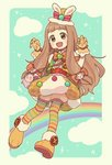 1girl animal_hat bag bangs blonde_hair bloomers blunt_bangs bow bowtie brown_eyes brown_hair bubble_skirt bunny_hat carrying claw_pose cloud commentary costume_request dog_hair_ornament dress full_body gloves gomi_(kaiwaresan44) hair_bow handbag hat hat_bow headset horizontal-striped_legwear ichihara_nina idolmaster idolmaster_cinderella_girls idolmaster_cinderella_girls_starlight_stage jacket long_hair looking_at_viewer low-tied_long_hair monkey_hair_ornament multicolored multicolored_stripes open_mouth orange_bow pantyhose paw_boots pom_pom_(clothes) puffy_sleeves rainbow sheep skirt smile solo standing striped striped_legwear top_hat underwear yellow_dress yellow_gloves yellow_hat yellow_jacket
