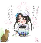 1girl :d ^_^ afterimage animal baseball_cap black_hair blue_skirt blush brown-framed_eyewear bush camera cat cattail chibi closed_eyes clothes_writing commentary_request dated earrings eighth_note flip_(diiolive) flying_sweatdrops glasses hat heart holding holding_camera hood hood_down hoodie hoop_earrings idolmaster idolmaster_shiny_colors jewelry long_hair long_sleeves mitsumine_yuika musical_note open_mouth plant pleated_skirt purple_footwear shoes signature skirt sleeves_past_wrists smile sneakers socks solo squatting translation_request twintails very_long_hair white_background white_headwear white_hoodie white_legwear