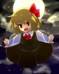 1girl :d blonde_hair blouse fang full_moon hair_ribbon moon night open_mouth outstretched_arms red_eyes ribbon rumia shirokuro_gin short_hair skirt smile spread_arms touhou vest