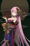 1girl bangs bare_shoulders black_bow blue_eyes bow breasts brown_bow cleavage commentary_request cup eyebrows_visible_through_hair hair_between_eyes hair_bow holding holding_pipe japanese_clothes kimono kiseru large_breasts long_hair megurine_luka off_shoulder pink_hair pipe print_kimono red_kimono sakazuki shadowsinking smoke solo striped striped_bow very_long_hair vocaloid