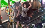 2girls alternate_universe bicycle bicycle_basket cat commentary_request convenience_store destroyer_(girls_frontline) dreamer_(girls_frontline) flower food food_in_mouth girls_frontline grass ground_vehicle multiple_girls pocky renze_l road school_uniform serafuku shop street