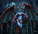 1girl abs armor artist_name blue_hair blue_skin breasts claws creepy defense_of_the_ancients demon_girl demon_tail demon_wings dota_2 fangs forest gauntlets gem glowing glowing_eyes green_eyes highres hooves horns mcrc_science medium_breasts monster_girl muscle muscular_female nature night night_stalker_(dota) open_mouth revealing_clothes standing standing_on_one_leg star_(sky) tail torn_wings tree wings