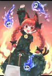 1girl :3 :d absurdres animal_ears bell blue_fire bow braid cat_ears cat_tail dress fiery_background fire frilled_dress frilled_sleeves frills hair_bow highres kaenbyou_rin kibisake long_hair long_sleeves multiple_tails open_mouth red_eyes red_hair skull smile solo tail touhou twin_braids two_tails