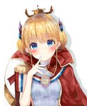 1girl azur_lane bad_id bad_pixiv_id blonde_hair blue_eyes blush breasts cape closed_mouth commentary double_bun epaulettes hand_up hat head_tilt headgear highres le_triomphant_(azur_lane) looking_at_viewer mini_hat red_cape sashima shirt side_bun sidelocks sleeveless sleeveless_shirt small_breasts solo white_background white_shirt