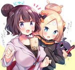 2girls :d abigail_williams_(fate/grand_order) animal bag bangs beige_background black_bow black_jacket black_shirt blonde_hair blue_eyes blush bow breasts bubble_tea bubble_tea_challenge collarbone commentary crossed_bandaids cup disposable_cup drinking_straw eyebrows_visible_through_hair fate/grand_order fate_(series) fingernails grey_jacket hair_bow hair_bun hair_ornament heroic_spirit_traveling_outfit hood hood_down hooded_jacket jacket katsushika_hokusai_(fate/grand_order) long_hair long_sleeves masayo_(gin_no_ame) medium_breasts multiple_girls object_on_breast octopus open_mouth orange_bow parted_bangs polka_dot polka_dot_bow purple_eyes purple_hair shirt shoulder_bag sleeves_past_fingers sleeves_past_wrists smile tokitarou_(fate/grand_order) translated two-tone_background upper_body v-shaped_eyebrows white_background