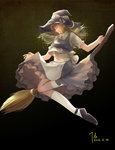 1girl absurdres apron blonde_hair braid broom broom_riding closed_eyes dated diandianzai facing_away folded_leg gradient gradient_background hat hat_ribbon highres kirisame_marisa kneehighs light_smile long_hair profile ribbon short_sleeves sidesaddle signature single_braid skirt skirt_set solo touhou waist_apron white_legwear witch_hat