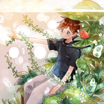 1boy :| air_bubble black_shirt brown_hair bubble chitta_(chipstep) closed_mouth frog from_side grey_eyes lily_pad looking_away male_focus original outstretched_arm pants partially_underwater_shot plant sailor_collar seaweed shirt sitting solo submerged