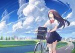 1girl bicycle bicycle_basket black_eyes black_hair bow city cloud day glasses ground_vehicle izumi_sai long_hair original school_uniform sky solo standing wind