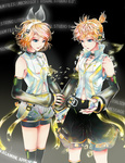 1boy 1girl aqua_eyes arm_warmers background_text blonde_hair brother_and_sister detached_sleeves hair_ornament hair_ribbon hairclip headphones kagamine_len kagamine_len_(append) kagamine_rin kagamine_rin_(append) navel ribbon short_hair shorts siblings smile twins vocaloid vocaloid_append