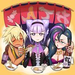 1boy 2girls :t banner black_dress black_shirt blonde_hair blue_hair blush bottle bouquet bowl braid breasts bridal_gauntlets charaleet_(precure) chopsticks cleavage closed_mouth commentary_request counter cup dark_skin detached_sleeves dress drinking_glass drunk earrings eyebrows_visible_through_hair flower food frown green_eyes gyaruo half-closed_eyes high_collar holding holding_bouquet holding_chopsticks holding_cup hoop_earrings hugtto!_precure jewelry lavender_hair lipstick long_hair looking_at_another looking_at_viewer makeup medium_breasts multicolored_hair multiple_girls necklace oden open_mouth papple_(precure) pink_hair pink_lipstick precure purple_eyes ruru_amour saliva shirai_keita shirt sitting tank_top tearing_up tied_hair twin_braids twintails two-tone_hair white_pupils wine_bottle