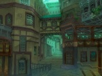 building city cityscape glowing house munashichi no_humans original plant road scenery stairs street vanishing_point