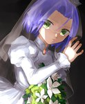 1boy absurdres artist_request blue_hair bouquet brooch dress flower green_eyes grey_background highres holding holding_bouquet jewelry kojirou_(pokemon) long_sleeves looking_at_viewer male_focus pokemon pokemon_(anime) puffy_long_sleeves puffy_sleeves solo upper_body veil wedding_dress white_dress