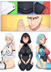 1boy 3girls band-width black_hair black_legwear black_leotard blue_hair blue_legwear blush breasts bridal_gauntlets commentary commission covered_navel elbow_gloves game_console gloves green_eyes hands_together heterochromia impossible_clothes impossible_leotard large_breasts leotard microsoft multicolored_hair multiple_girls nintendo nintendo_switch personification playstation_4 real_life red_hair red_legwear seiza sitting sony thick_thighs thighhighs thighs white_hair white_legwear white_leotard xbox_one