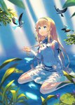 1girl :o animal armpit_cutout bangs barefoot bird blonde_hair blue_eyes dress flower hair_ornament hand_up in_water long_hair long_sleeves original parted_lips peroncho simple_background sitting sunlight very_long_hair white_dress