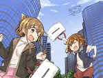 2girls :d ;d blush brown_eyes brown_hair casual city commentary_request darkside day fang folded_ponytail ikazuchi_(kantai_collection) inazuma_(kantai_collection) jacket kantai_collection mitsukoshi_(department_store) multiple_girls one_eye_closed open_mouth signature sketch sky smile v-shaped_eyebrows