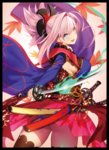 1girl ahoge ass black_legwear blue_eyes bright_pupils cowboy_shot detached_sleeves earrings eyebrows_visible_through_hair fate/grand_order fate_(series) fire from_behind hair_intakes hair_ornament highres japanese_clothes jewelry katana leaf long_sleeves looking_back maple_leaf miyamoto_musashi_(fate/grand_order) obi open_mouth pink_hair ponytail sash sidelocks simple_background skirt smile solo sword thighhighs weapon wide_sleeves yangsion