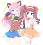 2girls ;3 ;d animal_ears bangs blue_eyes blush bow bowtie brown_eyes brown_hair buttons cat_ears cat_tail center_frills chibimi chibita closed_mouth collared_shirt cowboy_shot curly_hair dress frilled_legwear frilled_shirt_collar genderswap gloves green_bow green_bowtie green_hair hair_bow hairband hands_together hasekura_chiaki hashimoto_nyaa long_hair looking_at_viewer miniskirt multicolored_hair multiple_girls one_eye_closed open_mouth osomatsu-san paw_gloves paw_pose pink_hair pink_ribbon red_bow red_eyes ribbon school_uniform shirt skirt smile streaked_hair tail thighhighs triangle twintails whisker_markings white_legwear white_shirt