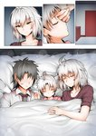 1girl 2boys ahoge alternate_costume bed bed_sheet closed_eyes collarbone collared_shirt comic commentary eyebrows_visible_through_hair faceless faceless_male family fate/grand_order fate_(series) father_and_son fujimaru_ritsuka_(male) ginhaha hair_between_eyes husband_and_wife jeanne_d'arc_(alter)_(fate) jeanne_d'arc_(fate)_(all) lipstick_mark mother_and_son multiple_boys necktie open_mouth shared_blanket shirt short_hair silent_comic silver_hair sleeping smile under_covers yellow_eyes