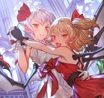 2girls >:d black_gloves blonde_hair bright_pupils closed_mouth commentary_request cropped dress fang flandre_scarlet from_side gloves holding_hands interlocked_fingers lavender_hair looking_at_viewer makai_no_juumin multiple_girls one_side_up pointy_ears red_dress red_eyes remilia_scarlet short_hair smile touhou white_dress white_gloves wings