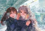 2girls :d breath brown_hair can can_to_cheek canned_coffee closed_eyes coat commentary_request glasses happy long_hair multiple_girls open_mouth original red-framed_eyewear rioka_(southern_blue_sky) scarf smile twintails white_hair winter winter_clothes