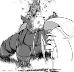 absurdres after_(artist) aggron battle commentary_request greyscale highres kicking monochrome motion_blur no_humans pheromosa pokemon pokemon_(creature) pokemon_(game) pokemon_sm ultra_beast