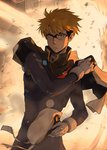 1boy backlighting beret black_bodysuit blonde_hair bodysuit bracer capelet closed_mouth cowboy_shot darling_in_the_franxx explosion expressionless glasses gloves gorou_(darling_in_the_franxx) hat high_collar holding holding_hat long_sleeves looking_at_viewer male_focus pilot_suit purple-framed_eyewear skin_tight solkorra solo standing twitter_username v-shaped_eyebrows white_gloves yellow_eyes