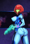 1girl arm_cannon ass bodysuit breasts commentary_request covered_nipples hand_on_hip helmet hero_(do-belman) large_breasts looking_at_viewer looking_back metroid puffy_nipples samus_aran skin_tight solo space tongue weapon zero_suit