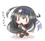 1girl asymmetrical_legwear black_blazer black_hair black_legwear black_skirt blazer blush eating_hair full_body hair_grab hatsushimo_(kantai_collection) headband jacket kantai_collection komakoma_(magicaltale) long_hair pleated_skirt remodel_(kantai_collection) seiza short_sleeves simple_background single_thighhigh sitting skirt solo thighhighs translation_request very_long_hair white_background