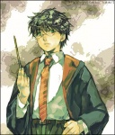 1boy artist_request glasses harry_james_potter harry_potter long_sleeves lowres male_focus necktie school_uniform solo wand