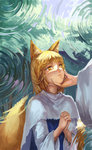 1girl animal_ears bangs blonde_hair capelet chin_grab eyebrows eyebrows_visible_through_hair eyelashes forest fox_ears fox_tail hands_clasped highres interlocked_fingers jiliang_ji_ying long_sleeves looking_at_another looking_up multiple_tails nature out_of_frame own_hands_together parted_lips ripples shade slit_pupils solo_focus tail touhou tree wide_sleeves yakumo_ran yellow_eyes younger