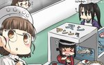 3girls >_< apron black_hair blush brown_hair chef_hat chopsticks closed_eyes commentary_request conveyor_belt dated fish flat_top_chef_hat flying_sweatdrops food fubuki_(kantai_collection) glasses hamu_koutarou happi hat headdress highres japanese_clothes kantai_collection long_hair multiple_girls nachi_(kantai_collection) open_mouth pince-nez remodel_(kantai_collection) roma_(kantai_collection) sparkle squid sushi translated