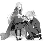 2girls black_gloves black_legwear blush capelet chacha_(fate/grand_order) con_potata dress fate/grand_order fate_(series) formal fujimaru_ritsuka_(female) gloves greyscale hair_ornament hair_scrunchie hand_kiss kiss monochrome multiple_girls necktie one_knee pantyhose ponytail scrunchie suit yuri