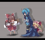 2girls ascot blonde_hair bloomers blue_eyes blue_hair boooo-im bow box brown_hair cape chibi crossover detached_sleeves donation_box fire_emblem fire_emblem:_monshou_no_nazo flandre_scarlet hair_bow hair_tubes hakurei_reimu hat letterboxed marth multiple_girls ponytail red_eyes side_ponytail skirt sleeves_past_wrists tiara touhou underwear wings