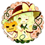 1girl blush candy food green_eyes green_hair halloween hat heart jack-o'-lantern komeiji_koishi long_hair mike_(mikeneko) one_eye_closed open_mouth pumpkin ribbon short_sleeves silver_hair skirt smile solo third_eye touhou
