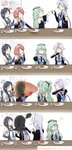 ... /\/\/\ 4girls 4koma ?? anger_vein arms_behind_back artist_name black_serafuku blue_hair blue_neckwear braided_ponytail breathing_fire burnt comic commentary_request cup curry curry_rice detached_sleeves drinking eating elbow_gloves fire flailing food glass gloves green_hair hair_flaps hair_over_shoulder hairband highres holding holding_cup holding_plate holding_spoon indoors kantai_collection kawakaze_(kantai_collection) long_hair mole mole_under_eye multiple_girls neckerchief outstretched_arms plate pointing red_hair rice school_uniform serafuku shanghmely shinkaisei-kan sidelocks silent_comic silver_hair sitting spoon suzukaze_(kantai_collection) sweatdrop ta-class_battleship table tearing_up twintails umikaze_(kantai_collection) white_serafuku yamakaze_(kantai_collection)