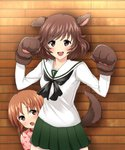 2girls :d akiyama_yukari animal_ears bangs black_neckwear blouse brown_eyes brown_hair commentary_request cowboy_shot cowering cross dog_ears dog_tail eyebrows_visible_through_hair frown girls_und_panzer gloves green_skirt hiding highres indoors long_sleeves looking_at_viewer messy_hair miniskirt multiple_girls neckerchief nishizumi_miho ooarai_school_uniform open_mouth partial_commentary paw_gloves paws pink_shirt pleated_skirt school_uniform serafuku shio_raichi shirt short_hair single_stripe skirt smile standing tail tearing_up w_arms white_blouse wooden_wall