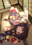 1girl artist_name black_hair bracelet dated dutch_angle enma_ai floral_print flower highres indoors jewelry jigoku_shoujo long_hair looking_at_viewer lying on_back red_eyes solo youzixiaoming