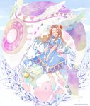 1girl ahoge brown_hair closed_eyes cloud cloudy_sky copyright_name dress flower full_body hair_flower hair_ornament jewelry long_hair looking_at_viewer marin_(the_legend_of_zelda) necklace oversized_object pendant sandals short_sleeves shuri_(84k) sky smile the_legend_of_zelda the_legend_of_zelda:_link's_awakening twitter_username water wind_fish