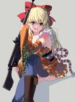 1girl antenna_hair bangs blonde_hair blue_eyes blue_legwear boots bow breasts commentary_request cowboy_boots detached_sleeves eyebrows_visible_through_hair food fruit grey_background gun hair_bow highres holding holding_gun holding_weapon invisible_chair japanese_clothes kimono looking_at_viewer masao medium_breasts mole mole_under_eye obi open_mouth orange_kimono orange_sleeves original over_shoulder red_bow revision rifle rope sash shimenawa simple_background sitting solo thighhighs thighs weapon weapon_over_shoulder weapon_request wide_sleeves